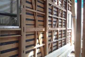 矢来の家 工事の様子 内部