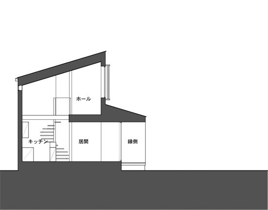富士吉田の家 断面図