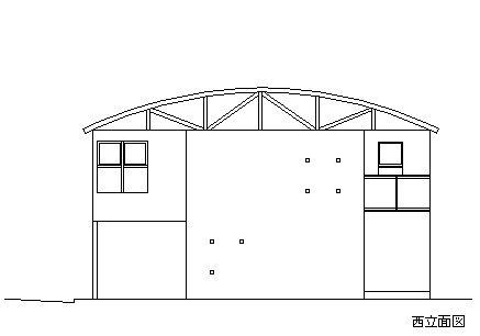市川の家 西立面図