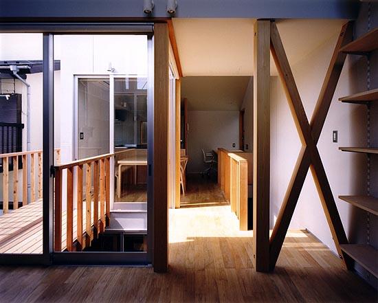 上石神井の住宅 2階光庭まわり。